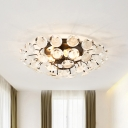 4 Heads Blossom Close to Ceiling Light Modern Black K9 Crystal Circles Semi Mount Lighting for Dining Room