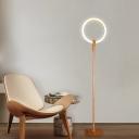 Circle Ring Floor Reading Light Modernism Wood LED Beige Floor Lamp for Study Room