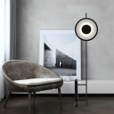 Round Drawing Room Standing Floor Light Metal LED Minimalist Floor Lamp in Black
