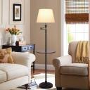 Modernism Barrel Shade Floor Light White Fabric 1 Bulb Living Room Floor Lamp with Shelf in Black