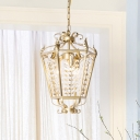 3-Light Birdcage Pendulum Light Postmodern Gold Finish Metal Chandelier Pendant Lamp with Crystal Accent