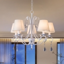 White Finish Scroll Chandelier Lighting Traditional 5 Heads Iron Ceiling Pendant Lamp with Barrel Fabric Shade