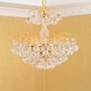 Tiered Dining Table Suspension Light Contemporary Crystal Orbs 6 Bulbs Gold Chandelier