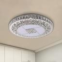 Crystal Encrusted LED Ceiling Flush Modern Stainless Steel Round Bedroom Flush Mount Light