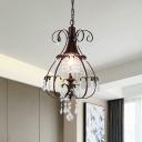 Pear Frame Metal Pendulum Light Vintage 1 Light Restaurant Crystal Ceiling Hang Fixture in Coffee