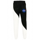 Stylish Mens Letter Nasa Flag Graphic Drawstring Waist Colorblock Ankle Cuffed Carrot Fit Sweatpants in Black