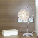 Chrome Global Night Table Lamp Modern 1-Light Crystal Embedded Nightstand Light for Bedside