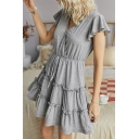 Fashionable Womens Solid Color Flared Short Sleeve Surplice Neck Drawstring Waist Ruffled Short Pleated A-line Dress