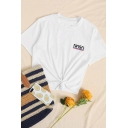 Leisure Womens Letter Nasa Print Short Sleeve Crew Neck Slim Fit Tee Top in White
