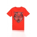 Cool Mens Wolf Pattern Short Sleeve Round Neck Regular Fit T-Shirt in Red