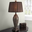 Coffee 1 Bulb Night Stand Lamp Rural Pleated Fabric Drum Table Lighting with Carved Base