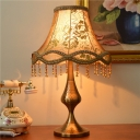 Fabric Bell Shade Embroidered Table Light Traditional 1-Light Living Room Night Lamp in Brass