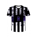 Leisure Color Block Letter Crrp 3D Pattern Crew Neck Short Sleeve Fitted T-Shirt for Men