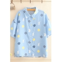 Popular Womens Allover Mixed Cartoon Print Short Sleeve Point Collar Button down Relaxed Shirt Top in Blue