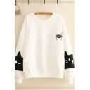 Fashionable Girls Cat Paw Embroidered Long Sleeve Crew Neck Loose Pullover Sweatshirt
