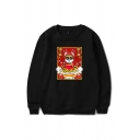 Fancy Mens Cartoon Mouse Lantern Cloud Pattern Chinese Letter Pullover Long Sleeve Round Neck Regular Fit Graphic Sweatshirt