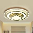 Crystal Geometric Ceiling Flush Light Modern Hotel LED Flushmount Lighting in White
