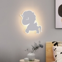 Metal Unicorn Shaped Wall Light Sconce Cartoon LED Wall Mounted Lamp in White/Blue/Pink for Child Bedside