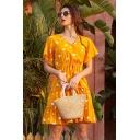Stylish Girls Allover Heart Print Short Sleeve Surplice Neck Drawstring Waist Ruffled Short Pleated A-line Dress in Yellow