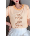 Trendy Womens Letter You Make My Heart Smile Sheer Mesh Patched Short Sleeve Crew Neck Contrast Piped Loose Tee in Orange