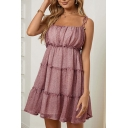 Trendy Ditsy Floral Printed Bow Tie Shoulder Ruffled Mini Pleated A-line Cami Dress for Girls