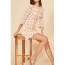 Womens Trendy Ditsy Floral Print Ruffled 3/4 Sleeve Crew Neck Cut out Back Mini A-line Dress in Beige
