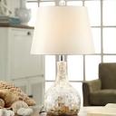 Farmhouse Onion Shape Night Table Light 1 Light Shell Desk Lamp in White for Living Room