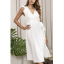 Elegant Womens Solid Color Butterfly Sleeve Surplice Neck Bow Tied Waist Mid Pleated Wrap Dress in White