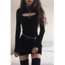 Hot Girls Long Sleeve Crew Neck Cut out Mini Fitted T Shirt Dress in Black