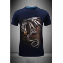 Mens Creative 3D Dragon Pattern Slim Fitted Round Neck Short Sleeve T-Shirt