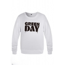 Green Day Letter Printed Long Sleeve Crew Neck Relaxed Fit Pullover Fashion Sweatshirt for Guys