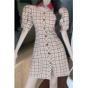Chic Girls Plaid Printed Puff Sleeve Point Collar Square Neck Button down Mini A-line Dress in Red