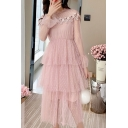 Popular Girls Polka Dot Print Sheer Mesh Lace Trim Long Sleeve Ruffled Tiered Plain Mid Pleated A-line Dress