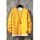 Basic Contrast Hem Applique Pullover Long Sleeve Round Neck Relaxed Fitted Fake Two Piece Sweatshirt for Men