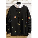 Simple Moon Planet Pattern Pullover Long Sleeve Round Neck Fitted Sweatshirt for Men