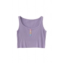 Fancy Girls Pleated Multicolor Button Detail Scoop Neck Sleeveless Slim Fit Crop Tank Top