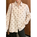 Cute Polka Dot Printed Blouson Sleeve Spread Collar Button down Relaxed Shirt Top for Girls