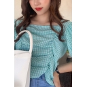 Checkered Patterned Bow Tied Puff Sleeve Square Neck Ruched Loose Fancy Cropped Blouse Top in Green