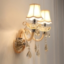 Amber Crystal Candelabra Wall Mount Lighting Traditional 1/2-Bulb Chrome Wall Lamp with Scalloped Fabric Shade