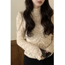 Sexy Womens See-through Lace Applique Long Sleeve Mock Neck Ruched Front Slim Fit Blouse in Apricot