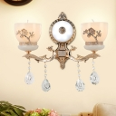 Countryside Cup-Shape Wall Light Fixture 1/2-Light Frosted Glass Wall Mount Lamp in Gold