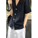Basic Navy Short Sleeve Lapel Neck Button-up Relaxed Fit Shirt for Girls