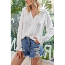 Fancy White Long Sleeve V-neck Lace Panel Button down Loose Fit Shirt for Girls