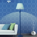 Blue 1 Bulb Floor Standing Lamp Minimalistic Fabric Cone Shade Floor Lighting with Foot Switch