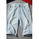 Cool Men's Shorts Zip-fly Button Distressed Straight Light Wash Longline Straight Fit Denim Light Blue Shorts with Pockets