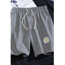 Mens Creative Shorts Daisy Striped Printed Drawstring Regular Fitted Fitted over the Knee Lounge Shorts with Pockets
