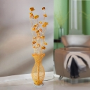 Aluminum Wire Gold Finish Stand Lighting Lotus and Vase Art Deco Style LED Floor Lamp