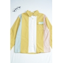 Trendy Womens Color Block Letter Sunny Girl Embroidery Print Flap Pocket Collar Long Sleeve Regular Fit Shirt