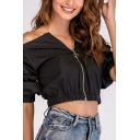 Street Womens Long Sleeve Off Shoulder Zipper Front Relaxed Cropped Top in Black
