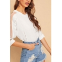 Novelty Womens Sheer Mesh Patched Stringy Selvedge Half Sleeve Crew Neck Relaxed Fit Blouse Top in White